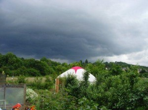 Yurt with rain on the way