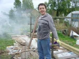 Andrew volunteers organic gardening bonfire